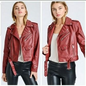 Faux Leather Jacket Red Moto